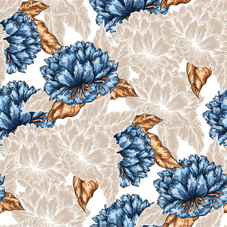 paper graphic: Seamless  graphic floral garden seamless pattern. flower background illustration. Decorative backdrop for fabric, textile, wrapping paper, card, invitation, wallpaper, web design.