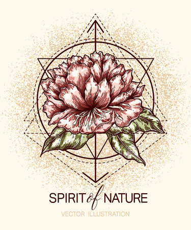 sacred symbol: flower and geometry shapes on grunge textured background. template for poster, t-shirt, print,  tattoo, card, label and other Illustration