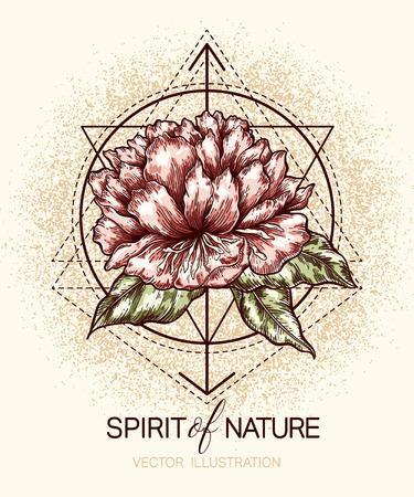 formas de la flor y de la geometría en el grunge textura de fondo. Plantilla para el cartel, camiseta, impresión, tatuaje, tarjetas, etiquetas y otros