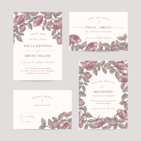 wedding reception: Hand drawn rose garden wedding invitation card set. Invitation, Save the date,  RSVP, Reception, Thank you  card template with floral background.