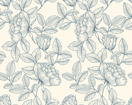 line vector: Seamless hand drawn line art graphic floral garden pattern. Vector flower background illustration. Decorative backdrop for fabric, textile, wrapping paper, card, invitation, wallpaper, web design. Illustration