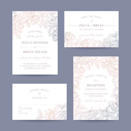 Dibujado a mano Colección color de rosa del jardín tarjeta de invitación de la boda. Invitación, ahorra la fecha, RSVP, recepción, Gracias plantilla de la tarjeta con el fondo floral.