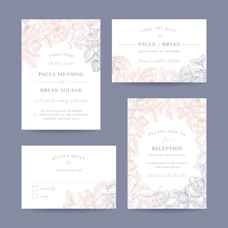 R? Cznie rysowane ró? A ogród weselny zaproszenie karty kolekcji. Zaproszenie, Zapisz datę, RSVP, Recepcja, Dziękuję szablonu karty z kwiatowym tłem.