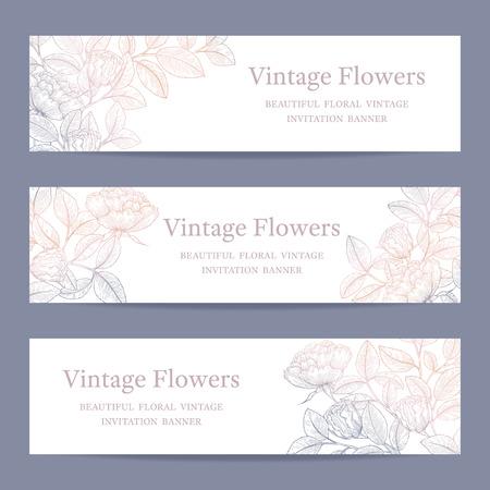 Set van verjaardag, uitnodiging, huwelijk, partij sjabloon met bloemen achtergrond. Hand getekende roos banner, brochure, poster, header conceptontwerp