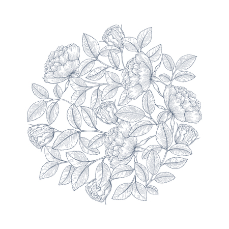 rose garden: Hand drawn rose garden decorative ornament. Decorative ornament for fabric, textile, wrapping paper, card, invitation, wallpaper, web design