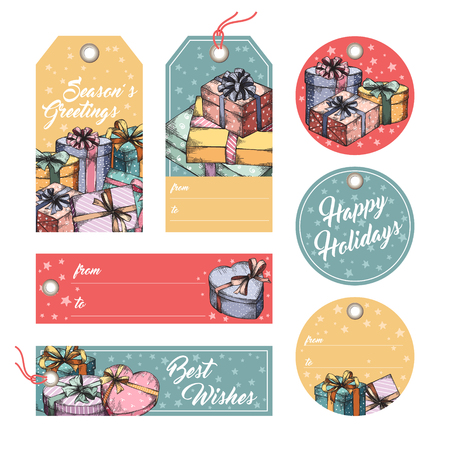 paper tags: Collection of gift tags, badges, labels template. Set of gift paper tags with hand drawn graphic sketch of boxes with presents Illustration