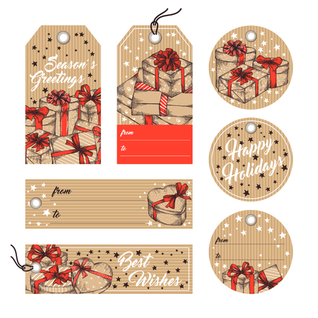 paper tags: Collection of gift tags, badges, labels template in retro style. Set of gift paper tags with hand drawn graphic sketch of boxes with presents