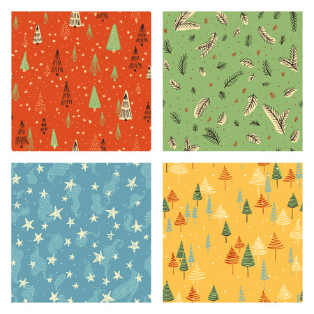 web backdrop: Collection of hand drawn cute vintage seamless patterns. Colorful Christmas, Noel, New Year backdrop. Decorative background for fabric, textile, wrapping paper, card, invitation, wallpaper, web design