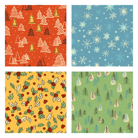 web backdrop: Collection of hand drawn cute retro seamless patterns. Colorful Christmas, Noel, New Year backdrop. Decorative background for fabric, textile, wrapping paper, card, invitation, wallpaper, web design