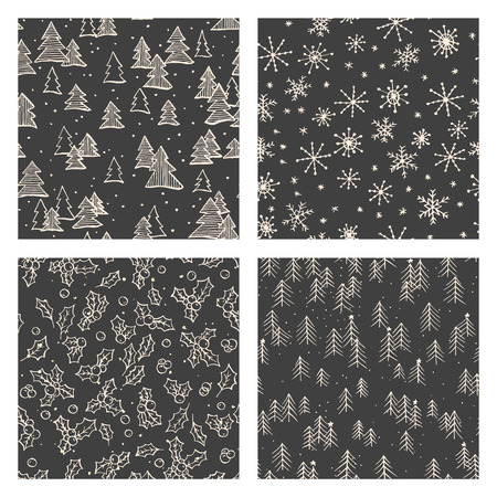 web backdrop: Collection of hand drawn cute seamless patterns. Doodle Christmas, Noel, New Year backdrop. Decorative background for fabric, textile, wrapping paper, card, invitation, wallpaper, web design
