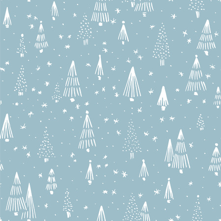 snow tree: Hand drawn winter seamless patterns. Doodle Christmas, Noel, New Year backdrop. Decorative background for fabric, textile, wrapping paper, card, invitation, wallpaper, web design