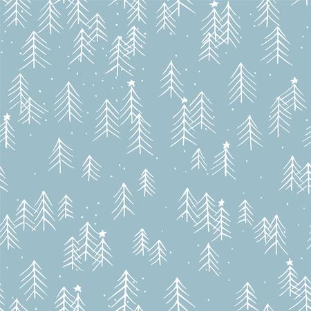 Hand getrokken winter naadloze patronen. Doodle Kerstmis, Noel, Nieuwjaar achtergrond. Decoratieve achtergrond voor stof, inpakpapier, kaart, uitnodiging, behang, webdesign