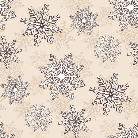 web backdrop: Hand drawn winter sketch snowflakes seamless pattern. Backdrop for Christmas, Noel, New Year design. Decorative background for fabric, textile, wrapping paper, card, invitation, wallpaper, web design Illustration