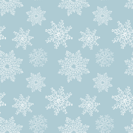 winter wallpaper: Hand drawn winter sketch snowflakes seamless pattern. Background for Christmas, Noel, New Year design. Decorative background for fabric, textile, wrapping paper, card, invitation, wallpaper, web design Illustration