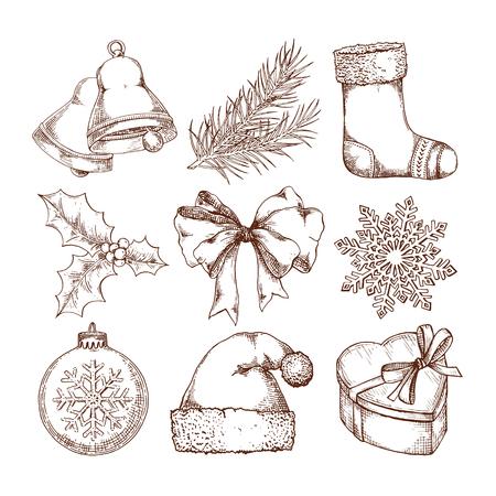 Christmas icons hand drawn sketch set. Isolated retro holidays object, symbol, element Illustration