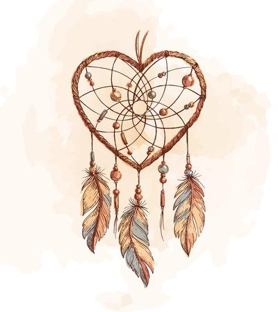 Ręcznie rysowane etnicznej Dreamcatcher serce. Natywna ilustracji wektorowych. Boho kolorowy szkic tatuażu, plakat, wydrukować, t-shirt