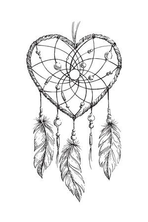 Dibujado a mano corazón atrapasueños étnica. Dibujo para colorear para los adultos. Ilustración del vector. Boho boceto aislado para el tatuaje de impresión de carteles, camiseta