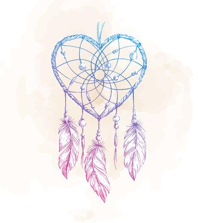Hand drawn ethnic dreamcatcher heart. Native vector illustration. Boho  sketch for tattoo, poster, print, t-shirt