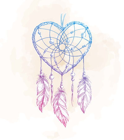 Hand drawn ethnic dreamcatcher heart. Native vector illustration. Boho  sketch for tattoo, poster, print, t-shirt