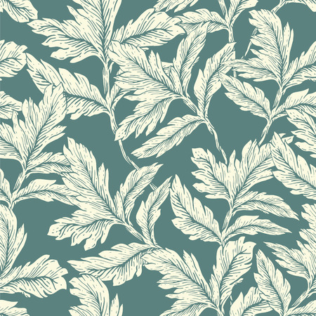 decorative wallpaper: Seamless hand drawn graphic leaves garden seamless wallpaper pattern. Vector vintage background illustration. Decorative backdrop for fabric, textile, wrapping paper, card, invitation, wallpaper, web design Illustration