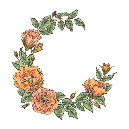 Hand drawn garden floweral wreath. Vector greeting card template. Wedding, Invitation, Save the date,  RSVP, Reception, Thank you, Valentine day card template with floral background