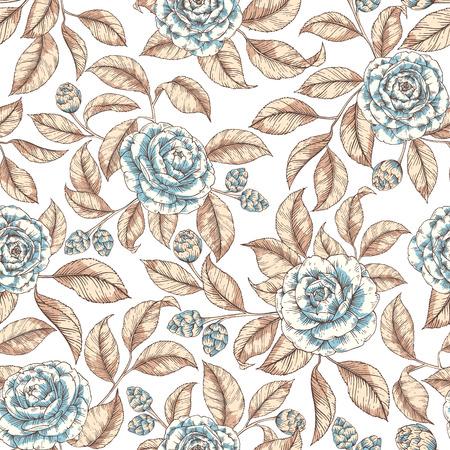 Patrón transparente de flores retro Ilustración de vector