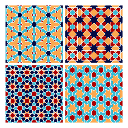 web backdrop: Set of colorful oriental geometry seamless vector pattern. East culture background. Decorative backdrop for fabric, textile, wrapping paper, card, invitation, wallpaper, web design