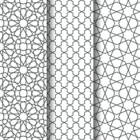 web backdrop: Set of oriental geometry seamless vector pattern. line art east culture background. Decorative backdrop for fabric, textile, wrapping paper, card, invitation, wallpaper, web design, coloring pages