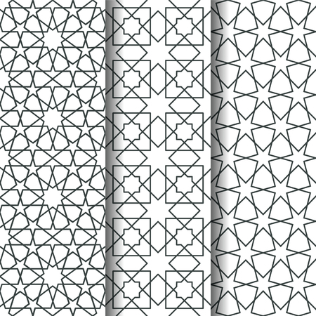 web backdrop: Set of oriental geometry seamless vector pattern. Line art east culture background. Decorative backdrop for fabric, textile, wrapping paper, card, invitation, wallpaper, web design, coloring pages Illustration
