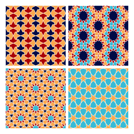 web backdrop: Set of Islamic colorful oriental geometry seamless vector pattern. Muslim east culture background. Decorative backdrop for fabric, textile, wrapping paper, card, invitation, wallpaper, web design