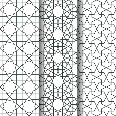 web backdrop: Set of Islamic oriental geometry seamless vector pattern. Muslim line art east culture background. Decorative backdrop for fabric, textile, wrapping paper, card, invitation, wallpaper, web design, coloring pages