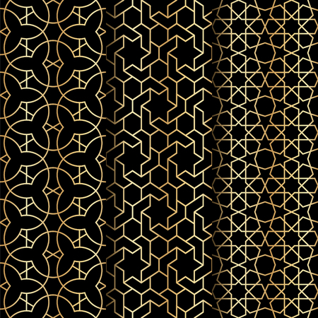 web backdrop: Set of Islamic gold oriental geometry seamless vector pattern. Muslim east culture background. Decorative backdrop for fabric, textile, wrapping paper, card, invitation, wallpaper, web design