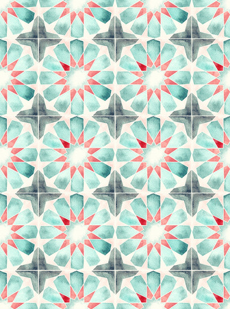 decorative wallpaper: Hand drawn watercolor seamless islamic geometric pattern. Decorative backdrop for fabric, textile, wrapping paper, card, invitation, wallpaper, web design. Stock Photo