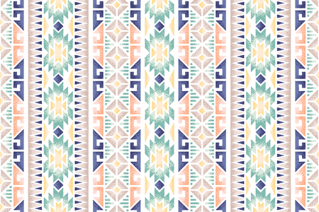 Seamless ethnic pattern. Decorative ornament, geometric elements for fabric, textile, web design, wrapping paper. Grainy texture background. 일러스트