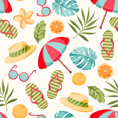 Vector seamless summer pattern with tropical vacation elements, pal leaves, flowers. Best for summer party.     Illustration