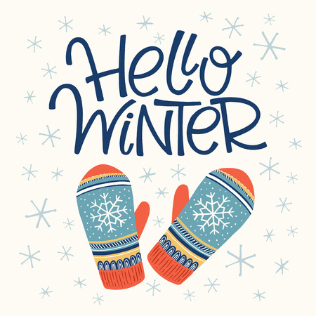 Vector hand drawn lettering Hello winter with mittens. Christmas greeting card and invitation.