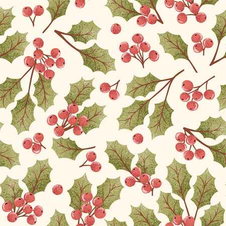 Vector hand drawn background seamless pattern with textured holly berry in vintage style