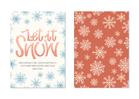 Let it snow vector hand drawn lettering. Christmas retro card with with frame of snowflakes and place for text