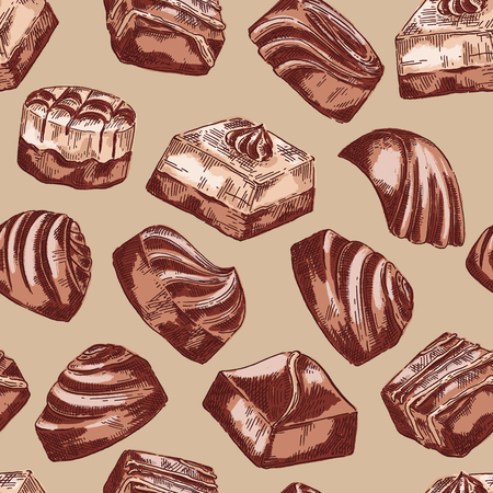 Hand drawn vector seamless pattern background with chocolate sweets Çizim