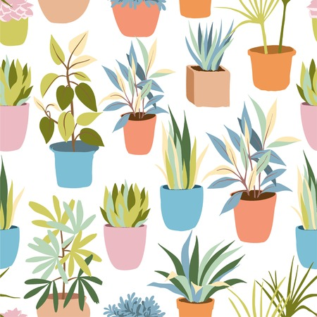 Hand drawn vector seamless background pattern with bright house plant