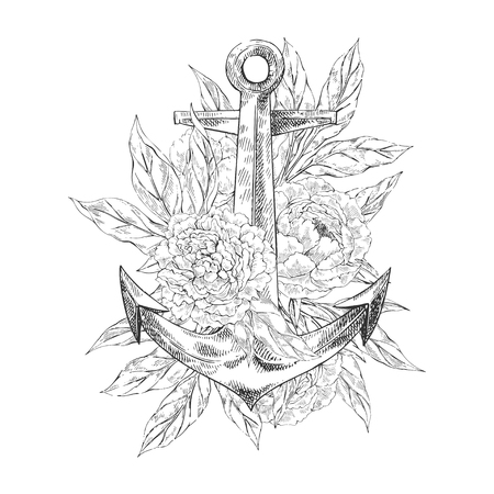 Anchor with flowers Stock Illustratie