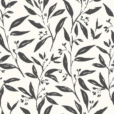 Les plantes printanières fleurissent et les feuilles modèle sans couture dessinés à la main. Dessin d'esquisse. Fond de coup de pinceau sec. Pinceau à encre, illustration de stylo. Papier d'emballage, conception de papier peint