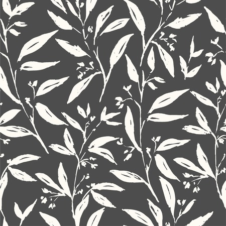 Spring plants flower and leaves hand drawn seamless pattern. Sketch drawing. Dry brushstroke black and white background. Ink brush, pen illustration. Wrapping paper, wallpaper design Ilustracja