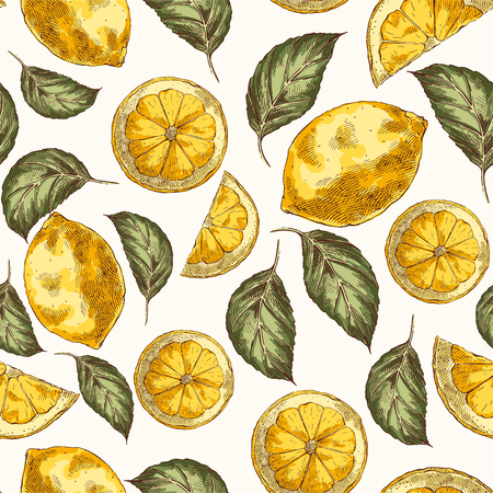 Lemons and slices hand drawn vector seamless pattern. Citrus fruits engraving style color backdrop. Ink brush, pen drawing. leaves, flowers background. Botanical wrapping paper, wallpaper design Ilustracja