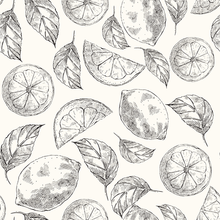 Lemons hand drawn vector sketch seamless pattern. Citrus fruits and slices engraving style color backdrop. Ink brush, pen drawing. Botanical wrapping paper, wallpaper design, background