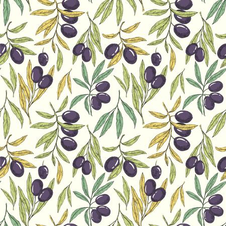 Nahtloses handgezeichnetes Muster mit Olivenbaumzweigen. Ökobotanischer Hintergrund