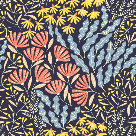 Hand drawn cute vector seamless pattern with bright flowers and leaves.