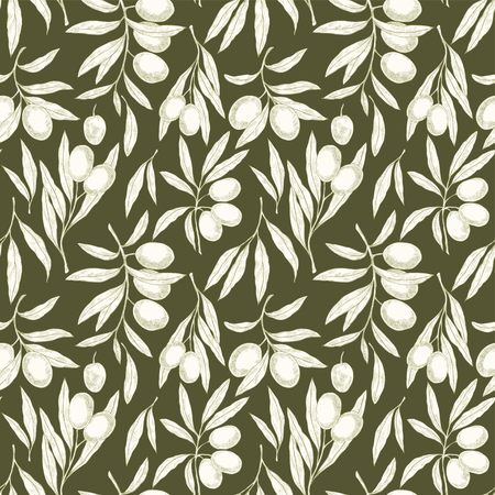 Seamless hand drawn pattern with olive tree branches. Vintage Eco botanical background