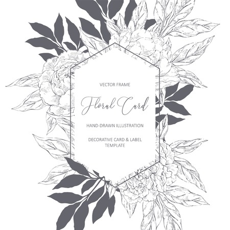 Hand drawn vector sketsh floral frame with peones and place for text in vintage style. Peonies flower background for invitation, wedding, greeting, birthday card Ilustracja