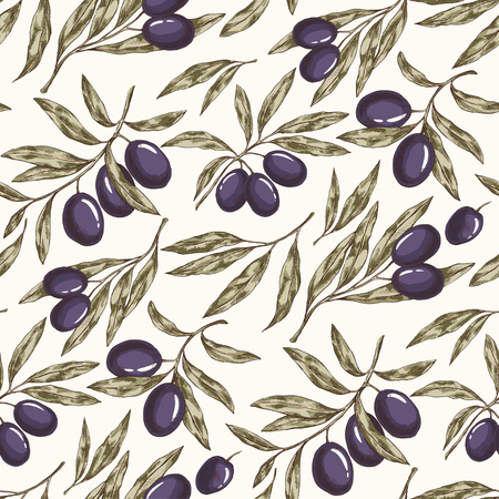 Seamless hand drawn pattern with olive tree branches. Isolated Eco botanical background